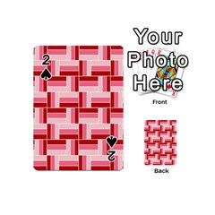 Pink Red Burgundy Pattern Stripes Playing Cards 54 (Mini)