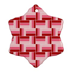 Pink Red Burgundy Pattern Stripes Ornament (snowflake)