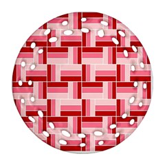 Pink Red Burgundy Pattern Stripes Round Filigree Ornament (two Sides)