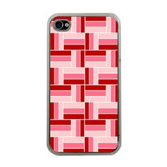 Pink Red Burgundy Pattern Stripes Apple Iphone 4 Case (clear)