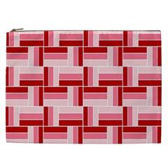 Pink Red Burgundy Pattern Stripes Cosmetic Bag (xxl)