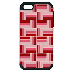 Pink Red Burgundy Pattern Stripes Apple Iphone 5 Hardshell Case (pc+silicone)