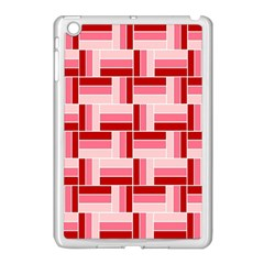 Pink Red Burgundy Pattern Stripes Apple Ipad Mini Case (white)