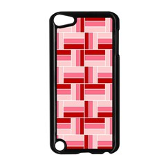 Pink Red Burgundy Pattern Stripes Apple Ipod Touch 5 Case (black)