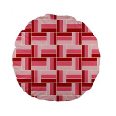 Pink Red Burgundy Pattern Stripes Standard 15  Premium Round Cushions