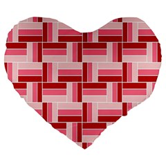 Pink Red Burgundy Pattern Stripes Large 19  Premium Heart Shape Cushions