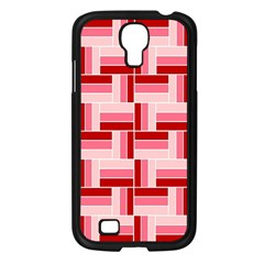 Pink Red Burgundy Pattern Stripes Samsung Galaxy S4 I9500/ I9505 Case (black)