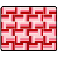 Pink Red Burgundy Pattern Stripes Double Sided Fleece Blanket (medium)
