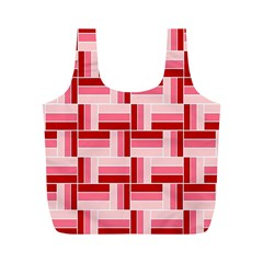 Pink Red Burgundy Pattern Stripes Full Print Recycle Bags (m)