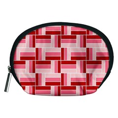Pink Red Burgundy Pattern Stripes Accessory Pouches (Medium)