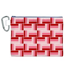 Pink Red Burgundy Pattern Stripes Canvas Cosmetic Bag (xl)