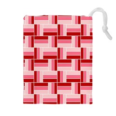 Pink Red Burgundy Pattern Stripes Drawstring Pouches (extra Large)