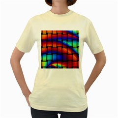 Rainbow Weaving Pattern Women s Yellow T Shirt