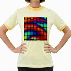 Rainbow Weaving Pattern Women s Fitted Ringer T Shirts