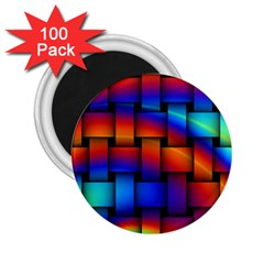Rainbow Weaving Pattern 2 25  Magnets (100 Pack)