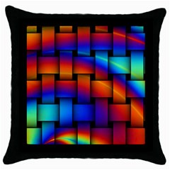 Rainbow Weaving Pattern Throw Pillow Case (black)