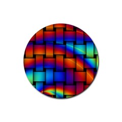 Rainbow Weaving Pattern Rubber Coaster (round)