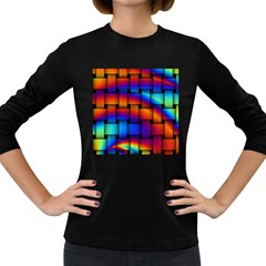 Rainbow Weaving Pattern Women s Long Sleeve Dark T Shirts