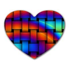 Rainbow Weaving Pattern Heart Mousepads