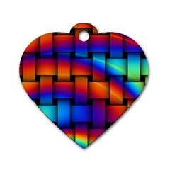 Rainbow Weaving Pattern Dog Tag Heart (two Sides)