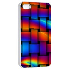 Rainbow Weaving Pattern Apple Iphone 4/4s Seamless Case (white)