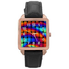 Rainbow Weaving Pattern Rose Gold Leather Watch
