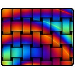 Rainbow Weaving Pattern Double Sided Fleece Blanket (medium)