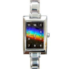 Rainbow Color Prism Colors Rectangle Italian Charm Watch