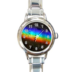Rainbow Color Prism Colors Round Italian Charm Watch