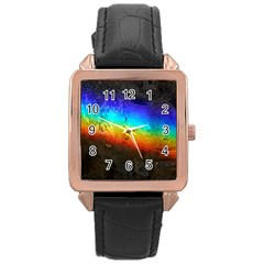 Rainbow Color Prism Colors Rose Gold Leather Watch