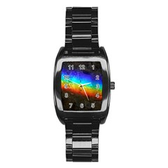 Rainbow Color Prism Colors Stainless Steel Barrel Watch