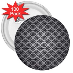 Silver The Background 3  Buttons (100 Pack)