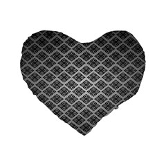 Silver The Background Standard 16  Premium Flano Heart Shape Cushions