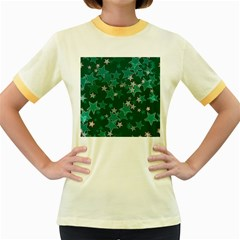 Star Seamless Tile Background Abstract Women s Fitted Ringer T Shirts