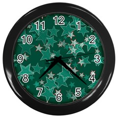 Star Seamless Tile Background Abstract Wall Clocks (black)