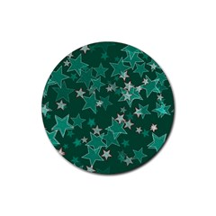 Star Seamless Tile Background Abstract Rubber Coaster (round)