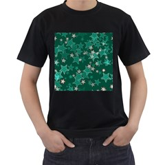 Star Seamless Tile Background Abstract Men s T Shirt (black) (two Sided)