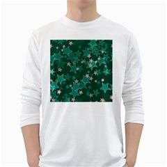 Star Seamless Tile Background Abstract White Long Sleeve T Shirts