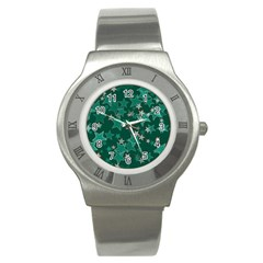Star Seamless Tile Background Abstract Stainless Steel Watch