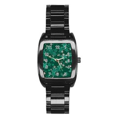 Star Seamless Tile Background Abstract Stainless Steel Barrel Watch