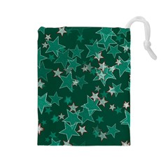 Star Seamless Tile Background Abstract Drawstring Pouches (large)