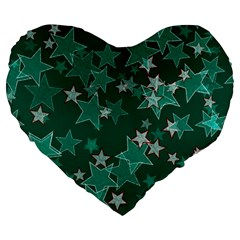Star Seamless Tile Background Abstract Large 19  Premium Flano Heart Shape Cushions