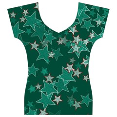 Star Seamless Tile Background Abstract Women s V-Neck Cap Sleeve Top