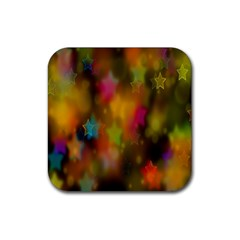 Star Background Texture Pattern Rubber Square Coaster (4 pack)