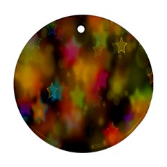 Star Background Texture Pattern Round Ornament (two Sides)