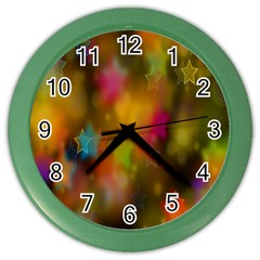 Star Background Texture Pattern Color Wall Clocks