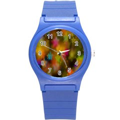 Star Background Texture Pattern Round Plastic Sport Watch (s)