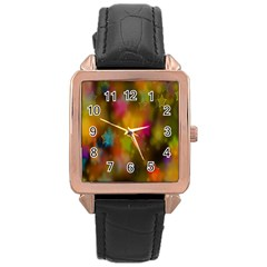 Star Background Texture Pattern Rose Gold Leather Watch