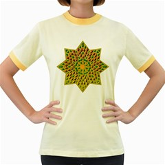 Star Pattern Tile Background Image Women s Fitted Ringer T Shirts