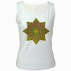 Star Pattern Tile Background Image Women s White Tank Top